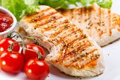 stock photo of  breasts  - a grilled chicken breast with fresh vegetables
