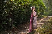 foto of polite girl  - Beautiful Thai girl in Thai traditional costume - JPG