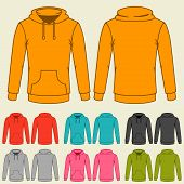 pic of hooded sweatshirt  - Set of templates colored sweatshirts for women - JPG