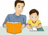 picture of homework  - Illustration of a Father Helping His Answer His Homework - JPG