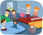stock photo of kiddie  - Illustration of Kids Practicing Different Gymnastic Routines - JPG