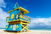 picture of lifeguard  - Colorful Lifeguard Stand in South Beach Miami Beach Florida USA - JPG