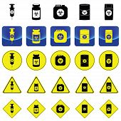 foto of bio-hazard  - Warning sign for bio hazard in syringe and containers vector on button and many types of yellow circle - JPG