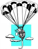 image of opossum  - A vector illustration of a skydiving opossum drinking a mug of coffee - JPG