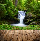 picture of cataract  - Beautiful waterfall in green forest - JPG