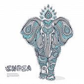 image of indian elephant  - Vector Vintage elephant illustration for your business - JPG
