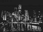 foto of singapore night  - Singapore skyline at night - JPG