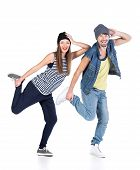 stock photo of break-dance  - A couple of young man and woman dancing hip - JPG