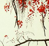 foto of vishu  - Red Blossom Tree on Handmade Paper textured Background - JPG