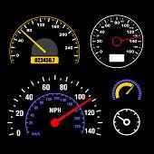 picture of speedometer  - Speedometers Set on Black Background - JPG