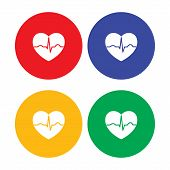foto of ecg chart  - Set of flat simple heart icons with ecg beat - JPG