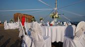 Постер, плакат: Table Set Up At The Beach Wedding