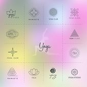 picture of yoga silhouette  - Vector illustration of Set of logos for a yoga studio - JPG