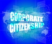 stock photo of citizenship  - corporate citizenship words on digital screen with world map - JPG