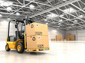 stock photo of heavy equipment operator  - Forklift truck in warehouse or storage loading cardboard boxes - JPG