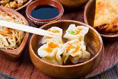 stock photo of chinese food  - a wood dish with different type of chinese food