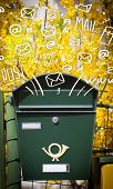 stock photo of postbox  - Postbox with white hand drawn mail icons - JPG