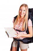 Woman Backpacker Tourist poster