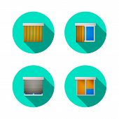 pic of louvers  - Set of circle colored flat vector icons for windows with jalousie - JPG