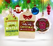 picture of xmas tree  - Christmas Sale Tags Set with Labels for Xmas and New Year Holiday Design - JPG