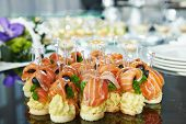 foto of catering  - catering services background with snacks on guests table in restaurant at event party - JPG