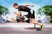 pic of explosion  - Explosive sprint of male athlete on road surface with strong reflecting metal background - JPG