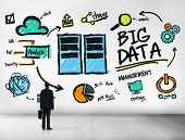 stock photo of wall cloud  - Businessman Big Data Management Looking Up Concept - JPG