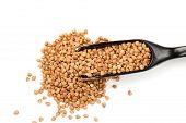 foto of buckwheat  - Wholegrain buckwheat in in black wooden spoon isolated closeup macro top view - JPG