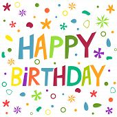 picture of confetti  - Happy Birthday text in colorful confetti elements - JPG