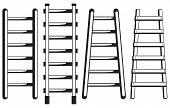 foto of step-ladder  - Ladder against the wall isolated on white background - JPG