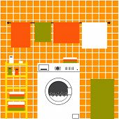 picture of laundry  - Orange laundry room interior with ceramic tile wall front loading type washing machine laundry basket drying towels and shelving with clean towels packs of washing powder bar of soap - JPG
