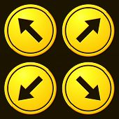 image of slippery-roads  - Directional Arrows Yellow Signs - JPG