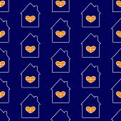 foto of roof-light  - Seamless pattern white contoured navy house with roof and chimney on it big window with white frame in the shape of heart and orange light in it isolated on navy background - JPG