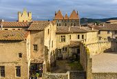 stock photo of fortified wall  - Inside the fortified city of Carcassonne  - JPG