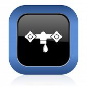 pic of hydraulics  - water square glossy icon hydraulics sign - JPG