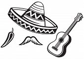 foto of mexican  - Mexican symbols isolated on white background - JPG