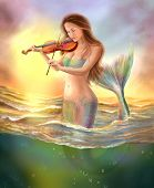 picture of mermaid  - illustration beautiful fantasy mermaid plays  on  violin on  sunset - JPG