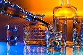 foto of vodka  - vodka in bar on a glass table - JPG