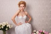 stock photo of beauty salon interior  - beautiful and fashion bride with beautiful makeup and hairstyle in luxury interior - JPG