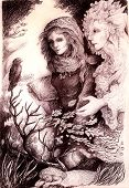 image of monochromatic  - A beautiful detailed monochromatic drawing of fantasy scenery of a young girl in autumn walk conversation with her elven fairy friend wind bird and leaves and all around - JPG