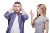 stock photo of conflict couple  - Young couple conflict concept - JPG