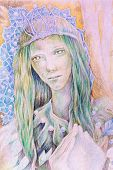 pic of queen crown  - Beautiful fantasy drawing of a fairy woman forest queen with a crown of pearls and long green hair radiant and detailed portrait - JPG