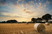 picture of hay bale  - Beautiful Summer sunset over field of hay bales in countryside landscape - JPG