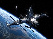 picture of orbit  - Space Station Orbiting Earth - JPG