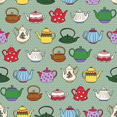 picture of teapot  - Seamless pattern with cute freehand teapots - JPG