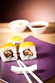 stock photo of souse  - sushi set with rolls - JPG