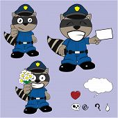 pic of policeman  - raccoon policeman cartoon set in vector format very easy to edit - JPG