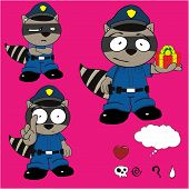 foto of policeman  - raccoon policeman cartoon set in vector format very easy to edit - JPG