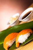 foto of souse  - delicious  sushi set with soy souse and ginger - JPG