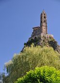 foto of michel  - The Chapel built on the top of a needle of volcanic lava called Rocher St Michel  - JPG